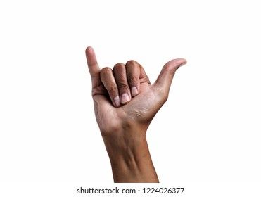 African man hand in shaka or calling gesture on a white isolated background