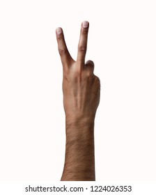 African man hand showing two fingers on a white isolated background