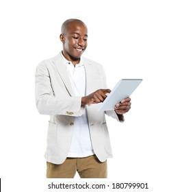 African Man Holding A Digital Tablet