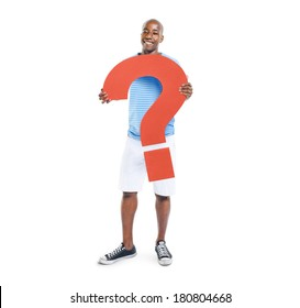 African Man Holding Question Mark Symbol