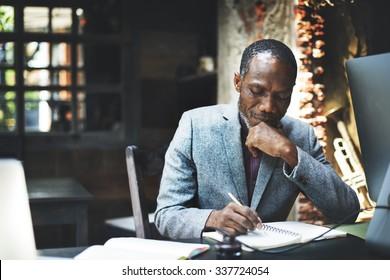 African Man Working Determine Workspace Lifestyle Concept