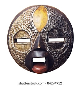 African mask Ashanti : wood and metal. Isolated on white background.