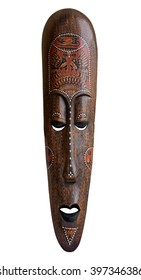African mask over white