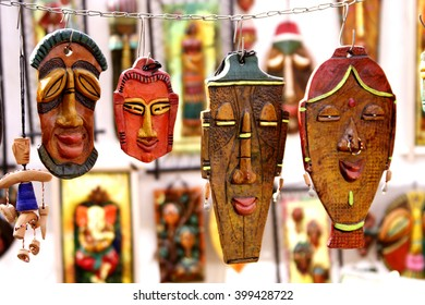 African masks for sale at market