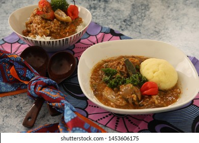 African Okra Soup With Plantain Fufu Presented in a Bowl