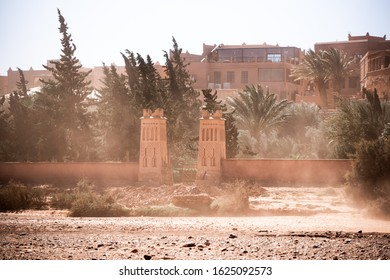 African old architecture and a passing sandstorm in Ait Benhaddou, Morocco.
