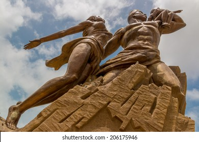 African Renaissance Monument, a 49 meter tall bronze statue of a man, woman and child, in Dakar, Senegal