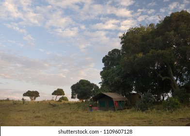 African safari tent against a cloudy sky