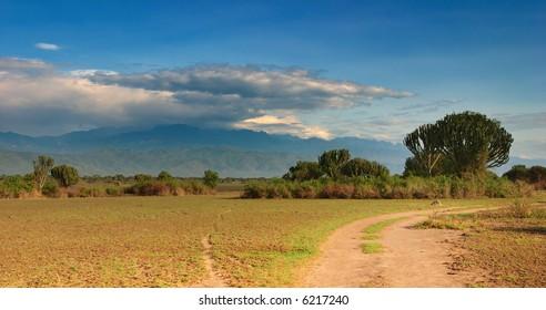 African savanna and  Rwenzori Mountains, Queen Elizabeth N.P., Uganda