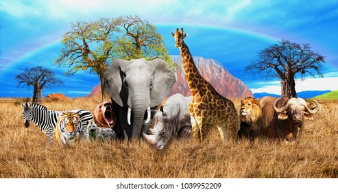 African Savannah on the background of many different animals. 3D Wallpapers for walls. 3D Rendering.