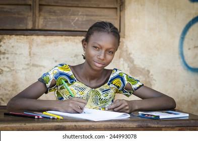 African School Girl Posing for an Educational Shot Symbol