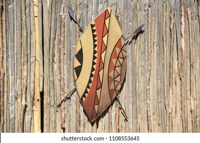 African shield with spears