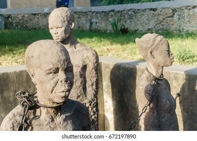 African Slave trade statue in Stone Town Zanzibar Tanzania