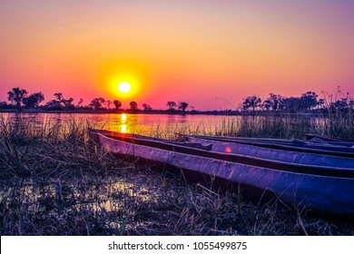 The african sunset over the okavango delta in Botswana
