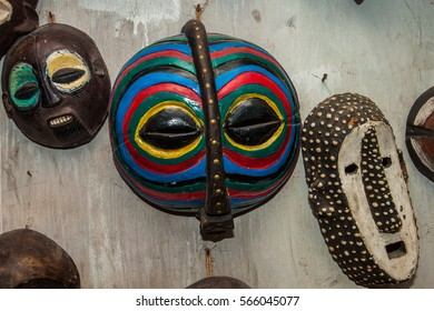 African traditional art - wooden masks collection on the wall, Stone Town, Zanzibar,Tanzania,Africa