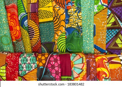African traditional fabrics in a shop in Ghana, West Africa