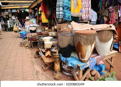 African traditional market with handmade souvenirs in Africa. Souvenir Shop in Uganda. Kampala - Uganda: 6 June 2016