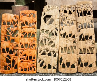 African tribal art of the big five animals of South Africa, for sale at a market stall. THIS ARTWORK IS GENERIC AND WIDELY AVAILABLE AT MARKETS ACROSS SOUTH AFRICA.