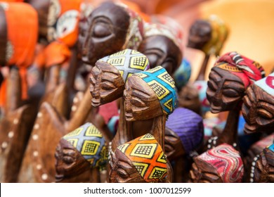 African tribal art for sale at a market stall. THIS ARTWORK IS GENERIC AND WIDELY AVAILABLE AT MARKETS ACROSS SOUTH AFRICA.