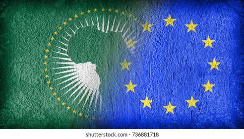 The African Union and the EU, flags painted on cracked concrete