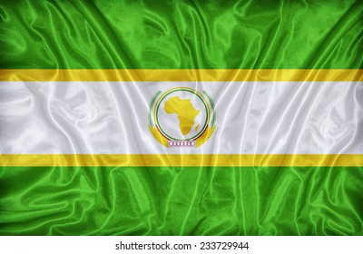 African Union flag pattern on the fabric texture ,vintage style