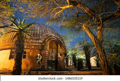 African village at night in zululand, Kwazulu natal, South Africa
