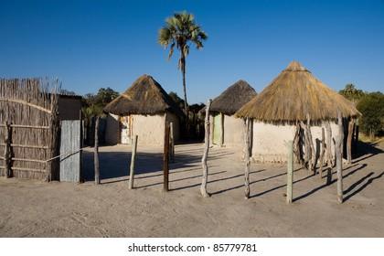 African village. Okavango delta, Botswana