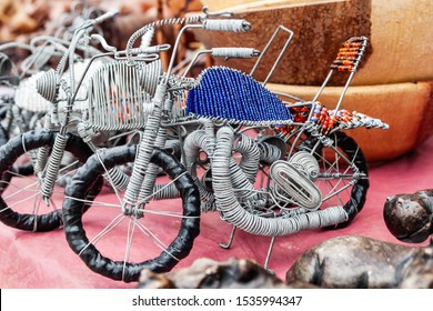 African wire art bike made out of steel wire
