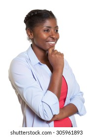 African woman with casual clothes looking sideways