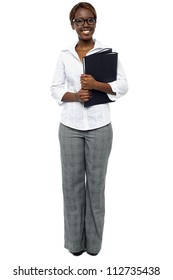 African woman executive ready for presentation with her binder