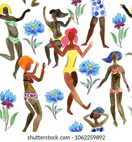 African woman with flowers. Girls on the beach. Seamless background. beautiful African woman.