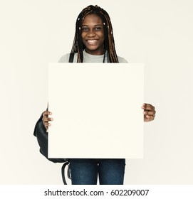 African woman holding empty for advertising