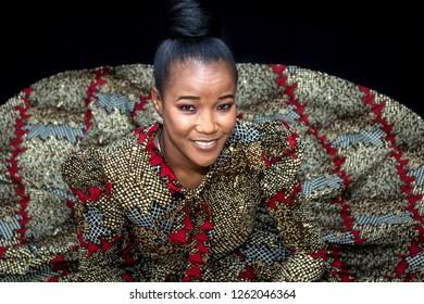 African woman in a shweshwe dress