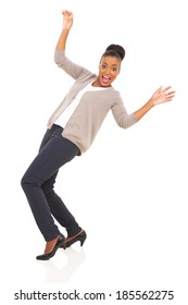 african woman slips on white background