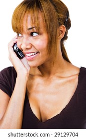 African woman talking on a mobile phone isolated over white