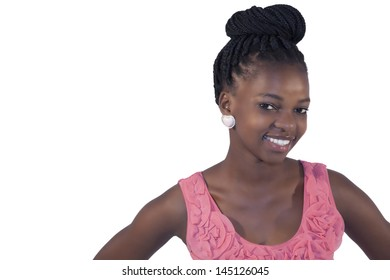 African young girl smilng on white background