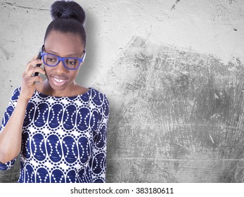African young girl talking on mobile phone