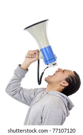 African young protester shouts angrily in megaphone.Isolated on white background.