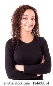 african young women posing over white background