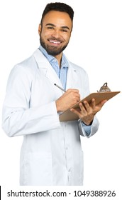 African-American black doctor man isolated white background