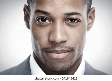 African-American black man face over grey background