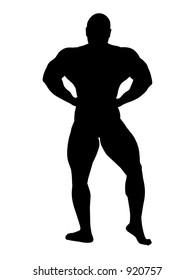african-american body builder posing