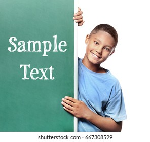 African-American boy and chalkboard with space for text on white background