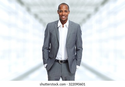 African-American Businessman over office background