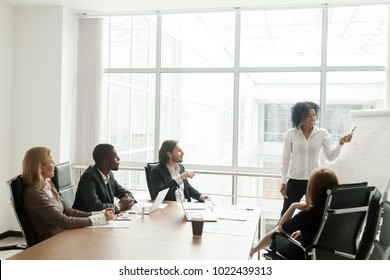 African-american businesswoman gives presentation to diverse colleagues at meeting, black manager presenting new plan for project team in boardroom, office worker explains business idea on flipchart