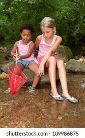 African-American and Caucasian girls look into a fishing net.