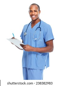 African-American doctor man writing prescription isolated
