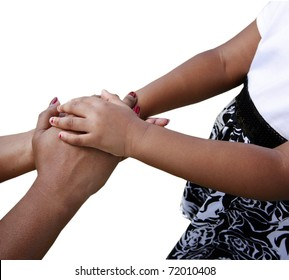 African-American family: mother and child holding hands isolated on white