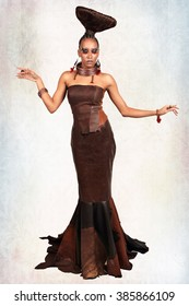 African-american fashion style. Young beautiful African fashion model in traditional dress with bijou. Beautiful African woman looking at camera. Latin woman with evening makeup and hairstyle.