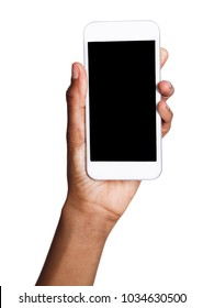 African-american female hand holding mobile smart phone with blank screen, isolated on white background. Copy space for advertisement of mobile app, mockup